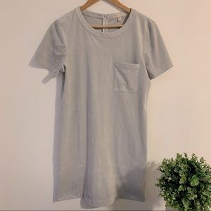 Suede Sheath Comfy Gray T-Shirt Pocket Dress